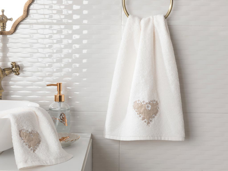 Picture of Heart Warming Embroidered FACE TOWEL 50x80 cm Ekru