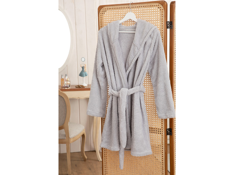 Picture of Peafowl Polyestere DRESSING GOWN L-XL Açık Gri