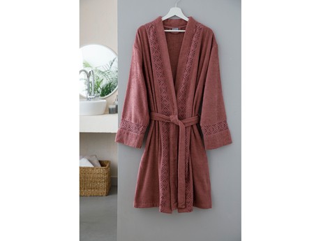 Picture of Lacy Laced BATHROBE L-XL Rose Color