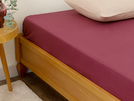 Picture of Plain Cottony Double Person SHEET 240x260 cm. Sour Cherry